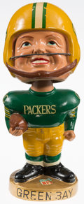 """Football Collectibles:Others, 1965-68 Green Bay Packers """"Real Face"""" Nodder - Near Mint (No Cracks)! ..."""