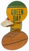 Football Collectibles:Others, 1941 Green Bay Packers Pinback Button and Football Charm....