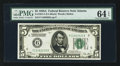 Small Size:Federal Reserve Notes, Fr. 1951-F $5 1928A Federal Reserve Note. PMG Choice Uncirculated 64 EPQ.. ...