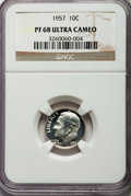 Proof Roosevelt Dimes, 1957 10C PR68 Ultra Cameo NGC. NGC Census: (42/20). PCGS Population(51/4). Numismedia Wsl. Price for problem free NGC/PCG...