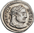 Ancients:Roman Imperial, Ancients: Galerius (AD 305-311). AR argenteus (20mm, 3.24 gm,1h)....