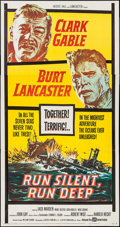 "Movie Posters:War, Run Silent, Run Deep (United Artists, 1958). Three Sheet (41"" X79""). War.. ..."