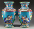 Asian:Chinese, A Pair of Chinese Cloisonné Vases, 20th century. 20-1/2 inches high(52.1 cm). PROPERTY FROM THE ESTATE OF RICHARD D. BASS... (Total: 2Items)