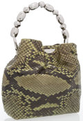 """Luxury Accessories:Accessories, Christian Dior Green Python Top Handle Bag with Silver Hardware. Very Good to Excellent Condition. 10"""" Width x 8"""" Heig..."""