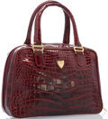 "Luxury Accessories:Accessories, Gucci Shiny Red Alligator Tote Bag with Gold Hardware. Very GoodCondition. 11"" Length x 8"" Height x 3"" Depth. ..."