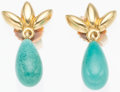 """Luxury Accessories:Accessories, Tiffany & Co. 18K Gold & Turquoise Drop Earrings. Very Good to Excellent Condition. .25"""" Width x .5"""" Length. ..."""