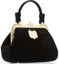 "Kieselstein-Cord Black Suede Top Handle Bag with Gold Hardware Very Good Condition 8"" Width x 6"""