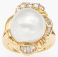Luxury Accessories:Accessories, 18K Yellow Gold & Diamond Ring with Glass Pearl Detail. VeryGood Condition. Size 8. ...