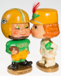 Football Collectibles:Others, 1960's Green Bay Packers Kissing Nodders Set....