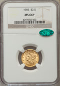 Liberty Quarter Eagles, 1903 $2 1/2 MS66+ NGC. CAC....
