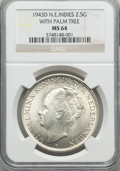 Netherlands East Indies, Netherlands East Indies: Dutch Colony 2-1/2 Gulden 1943-D MS64NGC,...