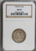 Seated Quarters: , 1878-CC 25C AU53 NGC. NGC Census: (1/183). PCGS Population (2/178). Mintage: 996,000. Numismedia Wsl. Price for NGC/PCGS co...