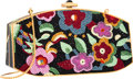 """Luxury Accessories:Bags, Judith Leiber Full Bead Black & Multicolor Crystal FloralMinaudiere Evening Bag. Excellent Condition. 7"""" Width x4"""" H..."""