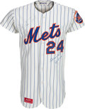 Baseball Collectibles:Uniforms, 1973 Willie Mays Game Worn New York Mets Jersey, MEARS A10....