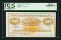 Obsoletes By State:Nevada, Austin, NV - The Manhattan Silver Mining Co. $20 187_ Remainder. ...