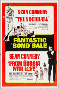 "Thunderball/From Russia with Love Combo (United Artists, R-1968). Poster (40"" X 60""). James Bond"