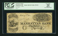 Obsoletes By State:Ohio, Manhattan, OH - Manhattan Bank $1 Jan. 1, 1838 G8 Wolka 1532-04....