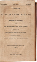 Books:Americana & American History, [Law]. A System of Civil and Criminal Law for the District ofColumbia, and for the Organization of the Court Therein. 2...