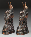 Bronze:American, Pair of Iron Gargoyles. 18-1/2 x 9 x 5 inches (47 x 22.9 x 12.7cm). PROPERTY FROM THE ESTATE OF RICHARD D. BASS, DALLAS, ...(Total: 2 Items)