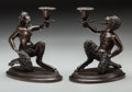 Bronze:European, A Pair of Patinated Bronze Satyr-Form Candlesticks, 20th century.7-7/8 inches high (19.9 cm). PROPERTY FROM THE ESTATE OF... (Total:2 Items)
