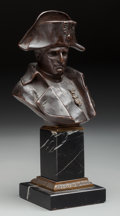 Sculpture, Continental School (20th Century). Bust of Napoleon. Bronze with brown patina. 6 inches (15.2 cm) high on a 4 inches (10...