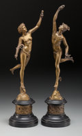 Sculpture, After Giambologna (Flemish, 1529-1608). Mercury and Fortuna (two works). Bronze with gold patina, each. 16-1/2 inches (4... (Total: 2 Items)