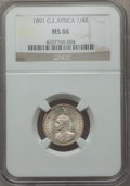German East Africa, German East Africa: German Colony. Wilhelm II 1/4 Rupie 1891 MS66NGC,...