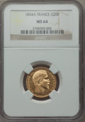 France, France: Napoleon III gold 20 Francs 1854-A MS64 NGC,...