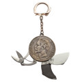 Timepieces:Other , French 5 Franc 1870 Napoleon III Coin Fob With Attachments. ...