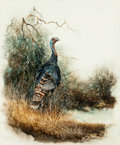 Fine Art - Work on Paper:Watercolor, Gilbert Duran (American, b. 1936). Wild Turkey. Watercoloron paper. 34 x 28-1/2 inches (86.4 x 72.4 cm) (sight). Signed...
