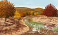 Fine Art - Painting, American, Manuel Garza (American, b. 1940). Stream in Autumn, 1982.Oil on canvas. 24 x 30 inches (61 x 76.2 cm). Signed and dated...