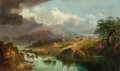 Fine Art - Painting, European:Antique  (Pre 1900), Continental School (Late 19th Century). Approaching Storm in theMountains. Oil on canvas. 24 x 40 inches (61 x 101.6 cm...