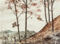 Fine Art - Painting, American:Contemporary   (1950 to present)  , David Hagerbaumer (American, b. 1921). Pheasants' Flight,1960. Watercolor on paper. 21-1/2 x 29-1/4 inches (54.6 x 74.3...