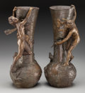 Bronze:European, A Pair of Antoine Bofill Art Nouveau Patinated Bronze FiguralVases, early 20th century. Marks: Bofill. 14-3/4 incheshi... (Total: 2 Items)