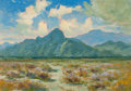 Fine Art - Painting, American:Modern  (1900 1949)  , Manuel Valencia (American, 1856-1935). Mountains inSummertime. Oil on board. 9 x 15 inches (22.9 x 38.1 cm). Bearsinsc...