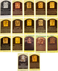 1960's-90's Signed Yellow Hall of Fame Plaque Postcards Near Set, Lot of 107