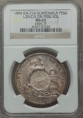 Guatemala: Republic Counterstamped Peso 1894 MS63 NGC