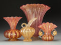 Art Glass:Other , Four Barovier & Toso Coronado D'Oro Glass Table Articles, circa1950. 10-5/8 inches high (tallest) (27.0 cm). ... (Total: 4 Items)