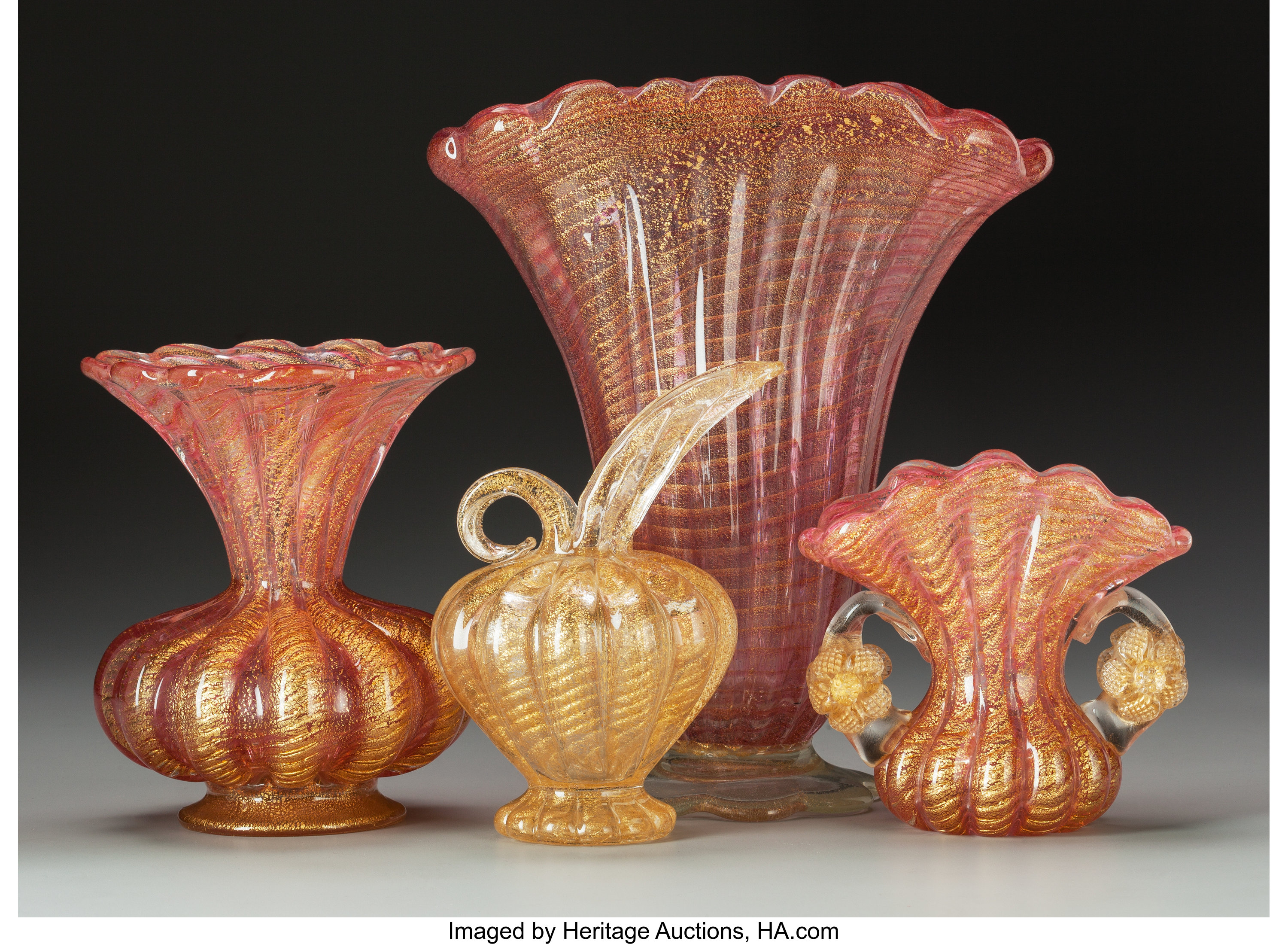 Four Barovier Toso Coronado D Oro Glass Table Articles Circa Lot 65290 Heritage Auctions