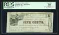 Obsoletes By State:Mississippi, Columbus, MS- Confederate States Armory 5¢ June 15, 1862 Kraus 55100. ...
