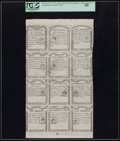 Colonial Notes:Massachusetts, Massachusetts 1779 1s-1s/6d-2s-2s/6d-3s-3s/6d-4s-4s/6d-4s/8d-5s-5s/4d-5s/6p Uncut Sheet of Face Reprints PCGS Choice About New...
