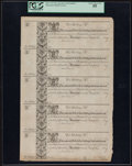 Colonial Notes:Maryland, Maryland 1733 10s Uncut Sheet of Five PCGS Choice About New 55.....