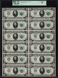 Fr. 2050-I 1928 $20 Federal Reserve Notes Uncut Sheet of 12. PCGS Choice About New 58