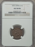 Indian Cents: , 1873 1C Open 3 AU58 Brown NGC. NGC Census: (3/60). PCGS Population (34/126). Mintage: 11,676,500. Numismedia Wsl. Price for...