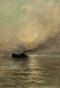Fine Art - Painting, American:Antique  (Pre 1900), Arthur Vidal Diehl (American, 1870-1929). Steamship at Dusk,1913. Oil on canvas. 17-3/4 x 11-3/4 inches (45.2 x 29.8 cm...