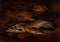Fine Art - Painting, European:Antique  (Pre 1900), Henry Leonidas Rolfe (British, 1813-1911). Two Salmon and aBrown Trout, 1872. Oil on panel. 10-1/4 x 14-1/4 inches (26 ...