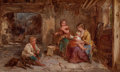 Fine Art - Painting, European:Antique  (Pre 1900), James Curnock (British, 1812-1870). Mother and Children,1860. Oil on panel. 8-1/8 x 13-5/8 inches (20.6 x 34.6 cm). Sig...