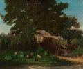Fine Art - Painting, European:Antique  (Pre 1900), Alfred-Eugene Capelle (French, 1834-1887). Barnyard withChickens. Oil on canvas. 21-1/2 x 26 inches (54.6 x 66 cm).Sig...