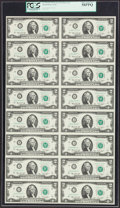 Fr. 1935-J* $2 1976 Federal Reserve Notes. Uncut Sheet of 16. PCGS Choice About New 58PPQ