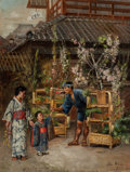 Fine Art - Painting, American:Modern  (1900 1949)  , Theodore Wores (American, 1858-1939). Flower Seller, Tokyo,1886. Oil on canvas laid on masonite. 26-1/2 x 20 inches (67...